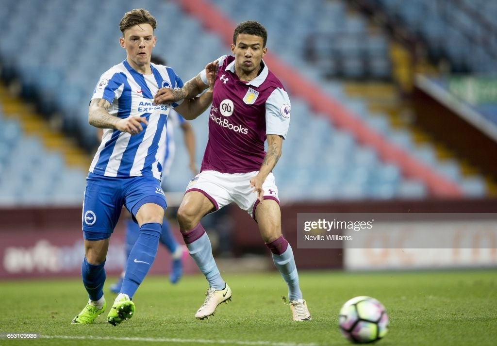 Jerell Sellars of Aston Villa scores for Aston Villa during the Premier League 2 match between Aston Villa and Brighton & Hove Albion at Villa Park on March 13, 2017 in Birmingham, England.