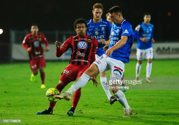 Jerell Sellars of Ostersunds FK and Alexander Blomqvist of Trelleborgs FF competes for the ball during the Allsvenskan match between Trelleborgs FF...