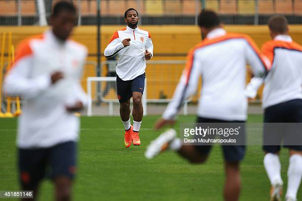 Jeremain Lens in action during the Netherlands training session at the 2014 FIFA World Cup Brazil held at the Estadio Paulo Machado de Carvalho...
