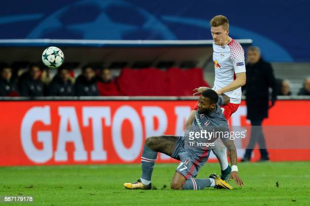 Jeremain Lens of Besiktas and Marcel Halstenberg of Leipzig battle for the ball during the UEFA Champions League group G soccer match between RB...