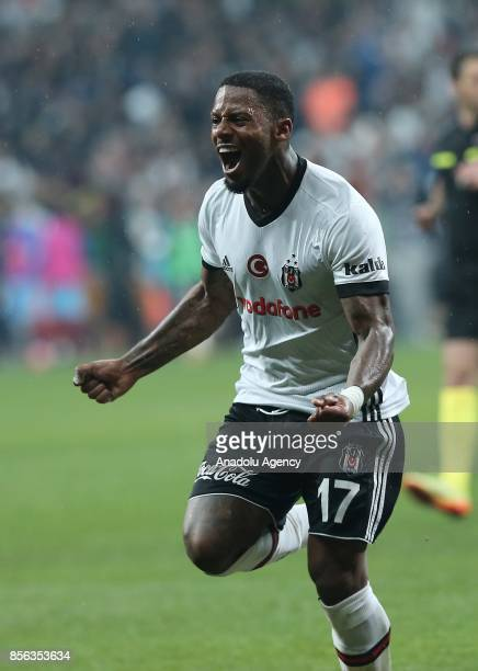 Jeremain Lens of Besiktas celebrates after scoring a goal during the Turkish Super Lig soccer match between Besiktas and Trabzonspor at Vodafone Park...