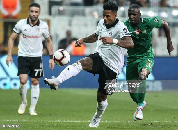 Jeremain Lens of Besiktas in action against Abdoul Sissoko of Akhisarspor during Turkish Super Lig soccer match between Besiktas and Akhisarspor at...