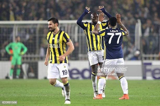 Jeremain Lens of Fenerbahce celebrates scoring his sides second goal with team mate Moussa Sow of Fenerbahce during the UEFA Europa League Group A...
