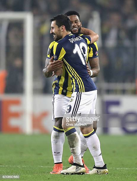 Jeremain Lens of Fenerbahce celebrates scoring his sides second goal with Sener Ozbayrakli of Fenerbahce during the UEFA Europa League Group A match...