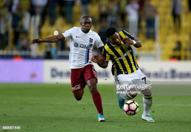 Jeremain Lens of Fenerbahce in action against Castillo Sanchez of Trabzonspor during the Turkish Spor Toto Super Lig soccer match between Fenerbahce...