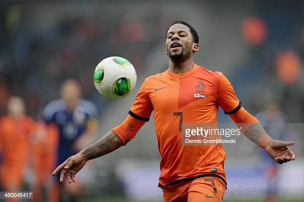 Jeremain Lens of Netherlands reacts during the International Friendly match between the Netherlands and Japan on November 16 2013 in Genk Belgium