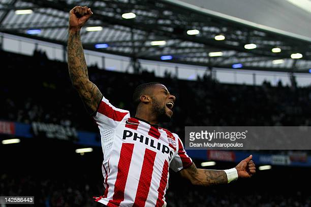 Jeremain Lens of PSV celebrates after he scores the third goal of the game during the Dutch Cup Final between PSV Eindhoven and SC Heracles Almelo at...