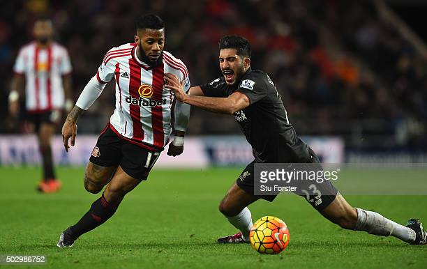 Jeremain Lens of Sunderland battles for the ball with Emre Can of Liverpool during the Barclays Premier League match between Sunderland and...