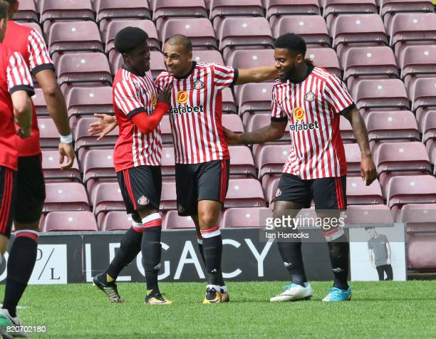 Jeremain Lens of Sunderland celebrates scoring the the second goal during a preseason friendly match between Bradford City and Sunderland AFC at the...