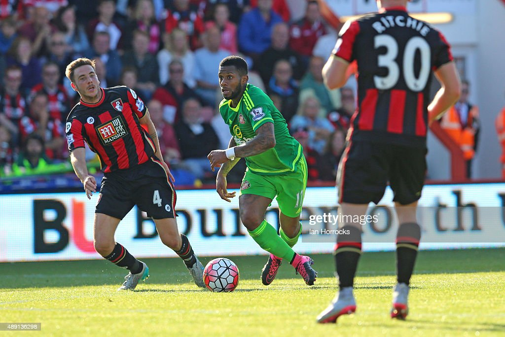 Jeremain lens of Sunderland during the Barclays Premier League match between Bournemouth and Sunderland at the Vitality Stadium on September 19, 2015 in Bournemouth, England.