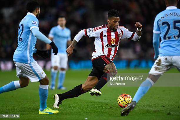 Jeremain Lens of Sunderland in action during the Barclays Premier League match between Sunderland and Manchester City at the Stadium of Light on...