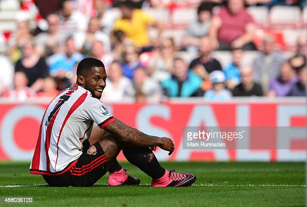 Jeremain Lens of Sunderland reacts after a missed chance during the Barclays Premier League match between Sunderland AFC and Tottenham Hotspur FC at...