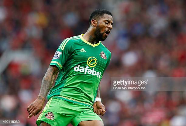 Jeremain Lens of Sunderland reacts during the Barclays Premier League match between Manchester United and Sunderland at Old Trafford on September 26...