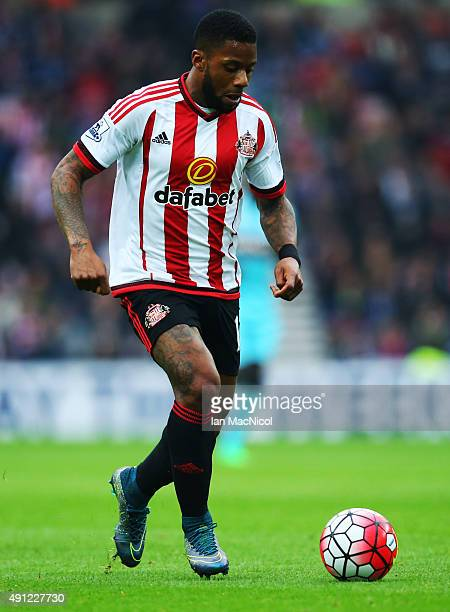 Jeremain Lens of Sunderland runs with the ball during the Barclays Premier League match between Sunderland and West Ham United at The Stadium of...
