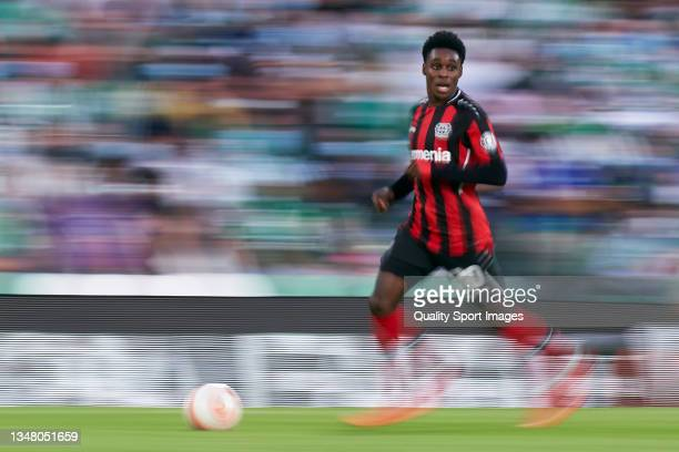 Jeremei Frimpong of Bayer Leverkusen runs with the ball during the UEFA Europa League group G match between Real Betis and Bayer Leverkusen at...