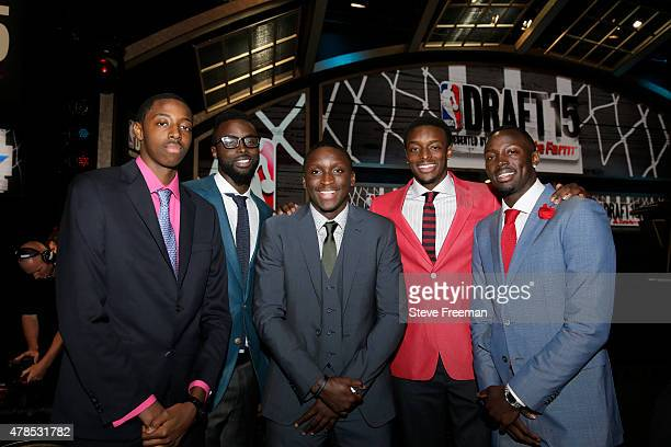 Jeremi Grant of the Philadelphia 76ers and brother Jerian Grant pose for a picture during the 2015 NBA Draft on June 25 2015 at Barclays Center in...