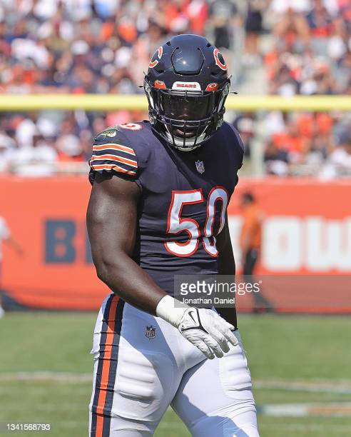 Jeremiah Attaochu of the Chicago Bears awaits the snap against the Cincinnati Bengals at Soldier Field on September 19, 2021 in Chicago, Illinois....