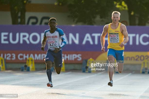 Jeremiah Azu of Great Britain and Henrik Larsson of Sweden, compete during Men's 100m Final during 2021 European Athletics U23 Championships - Day 2...