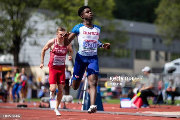 Jeremiah Azu of Great Britain competes during the 100m Men Round 1 on July 18 2019 in Boras Sweden