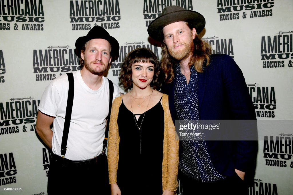 Jeremiah Caleb Fraites, Neyla Pekarek, and Wesley Schultz of the Lumineers attend the 2017 Americana Music Association Honors & Awards on September 13, 2017 in Nashville, Tennessee.