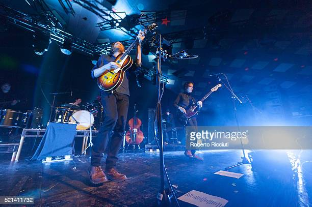 Jeremiah Caleb Fraites, Wesley Keith Schultz and Byron Isaacs of The Lumineers perform on stage at Barrowlands Ballroom on April 15, 2016 in Glasgow,...