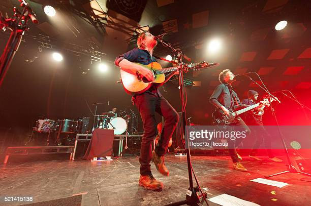 Jeremiah Caleb Fraites, Wesley Keith Schultz, Byron Isaacs and Stelth Ulvang of The Lumineers perform on stage at Barrowlands Ballroom on April 15,...
