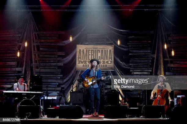 Jeremiah Caleb Fraites Wesley Schultz and Neyla Pekarek of the Lumineers perform onstage during the 2017 Americana Music Association Honors Awards on...