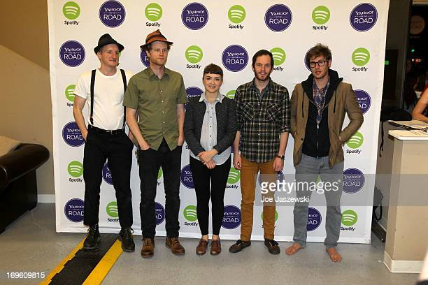 Jeremiah Caleb Fraites Wesley Schultz Neyla Pekarek Ben Wahamaki and Stelth Ulvang of The Lumineers pose for a photo before performing at Yahoo On...