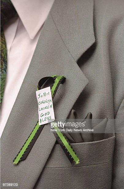 Jeremiah Conway of Bay Ridge Brooklyn wears his message on his lapel outside Old St Patrick's Cathedral during memorial service for John F Kennedy Jr...