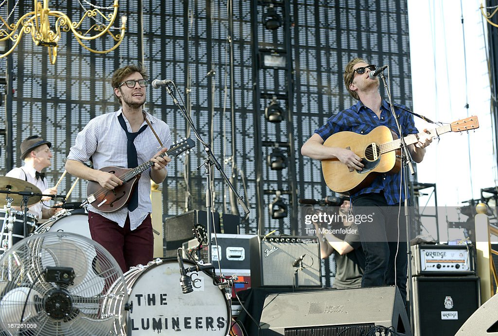 Jeremiah Fraites, Stelth Ulvang, and Wesley Schultz of The Lumineers perform as part of the 2013 Coachella Valley Music & Arts Festival at the Empire Polo Field on April 21, 2013 in Indio, California.