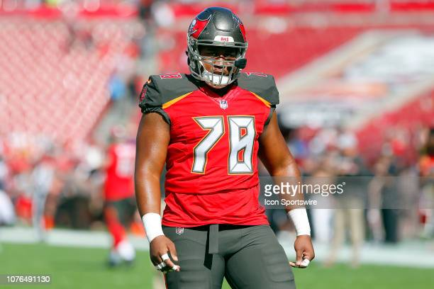 Jeremiah Ledbetter of the Bucs warms up before the regular season game between the Atlanta Falcons and the Tampa Bay Buccaneers on December 30 2018...