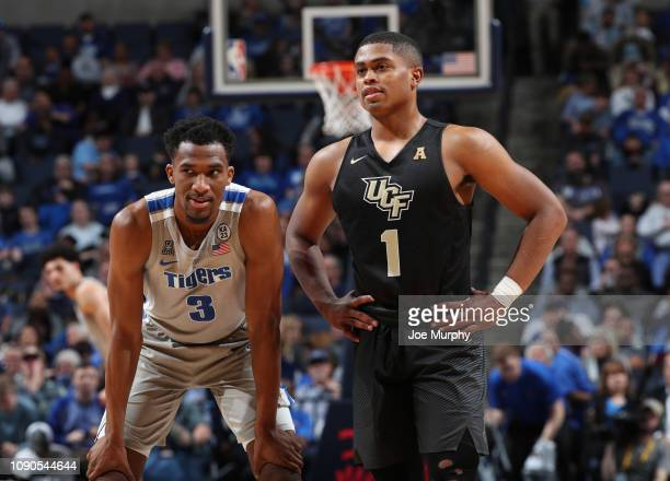 Jeremiah Martin of the Memphis Tigers and BJ Taylor of the UCF Knights talk during a break in action on January 27 2019 at FedExForum in Memphis...