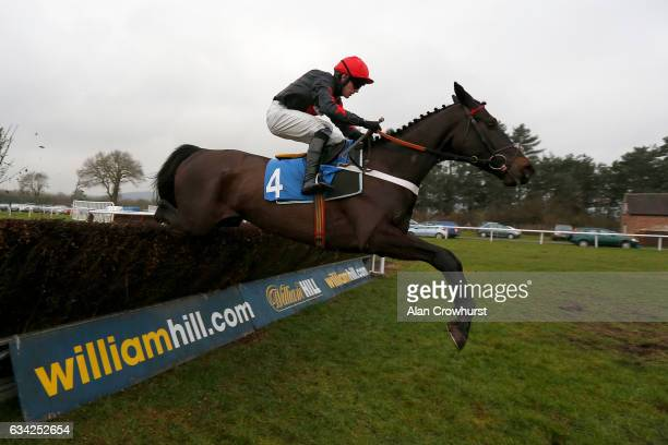 Jeremiah McGrath riding Pougne Bobbi clear the last to win The Attwood Memorial Trophy Handicap Steeple Chase at Ludlow racecourse on February 8 2017...