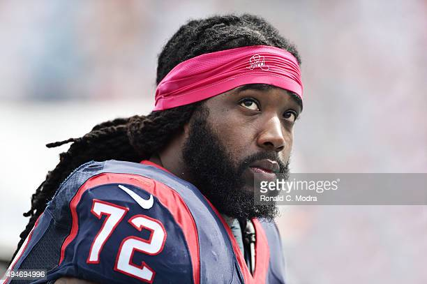 Jeremiah Poutasi of the Houston Texans looks on during a NFL game against the Miami Dolphins at Sun Life Stadium on October 25 2015 in Miami Gardens...