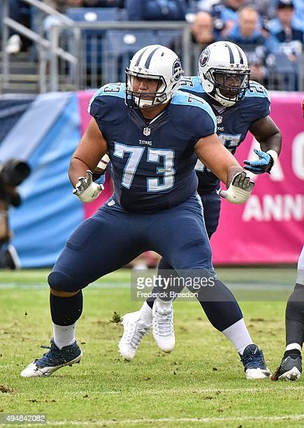 Jeremiah Poutasi of the Tennessee Titans plays against the Atlanta Falcons at Nissan Stadium on October 25 2015 in Nashville Tennessee