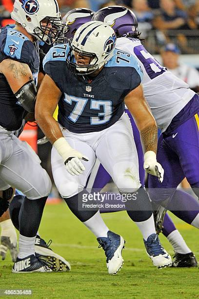 Jeremiah Poutasi of the Tennessee Titans plays during a preseason game against the Minnesota Vikings at Nissan Stadium on September 3 2015 in...