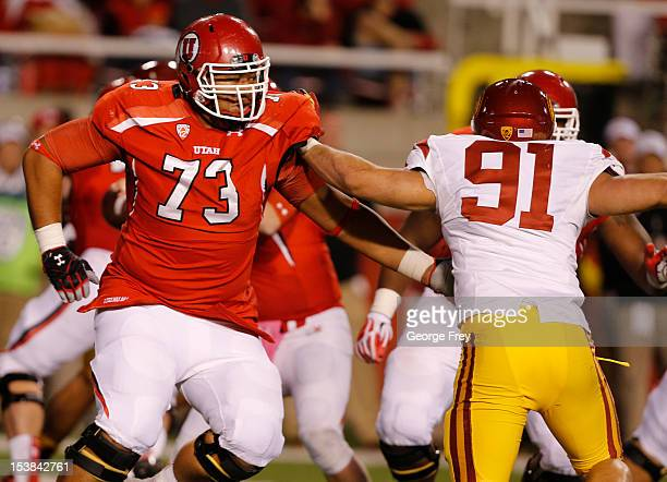 Jeremiah Poutasi of the Utah Ute's plays in a game against the USC Trojans during the second half of a college football game on October 4 2012 at...
