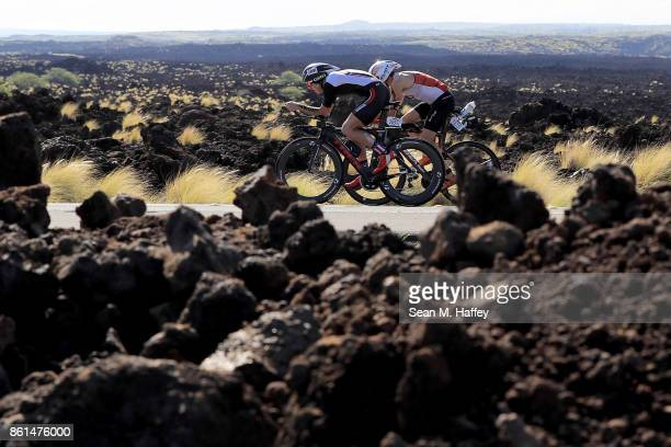 Jeremiah Radel of the United States and Cesar Dalquano of Brazil compete during the IRONMAN World Championship on October 14 2017 in Kailua Kona...