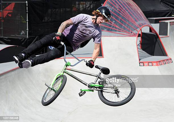 Jeremiah Smith competes in the BMX freestyle park elimination during X Games 16 at the Event Deck LA Live on July 29 2010 in Los Angeles California