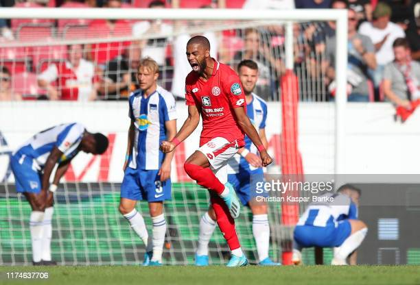 Jeremiah St Juste of 1. FSV Mainz 05 celebrates after scoring his team's second goal during the Bundesliga match between 1. FSV Mainz 05 and Hertha...