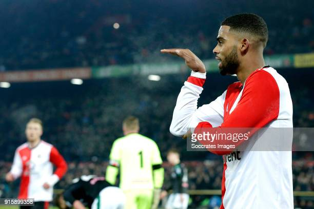 Jeremiah St Juste of Feyenoord celebrates 20 during the Dutch Eredivisie match between Feyenoord v FC Groningen at the Stadium Feijenoord on February...