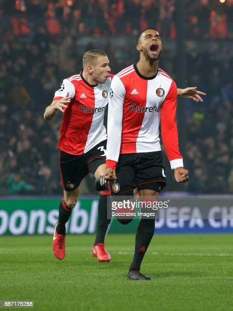 Jeremiah St Juste of Feyenoord celebrates 21 during the UEFA Champions League match between Feyenoord v Napoli at the Feyenoord Stadium on December 6...