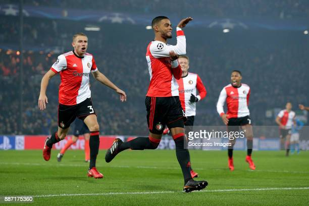 Jeremiah St Juste of Feyenoord celebrates 21 during the UEFA Champions League match between Feyenoord v Napoli at the Feyenoord Stadium on December 6...