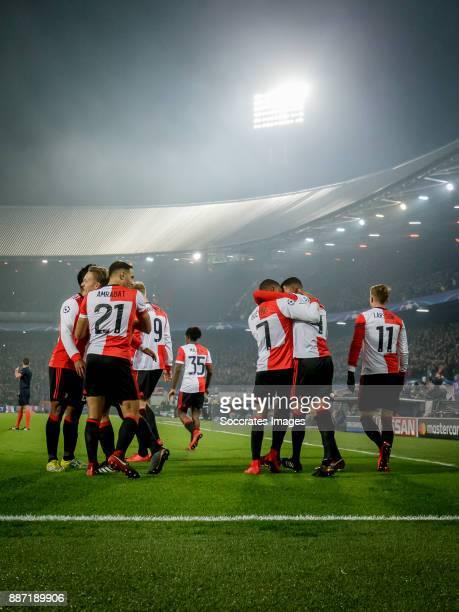 Jeremiah St Juste of Feyenoord celebrates 21 with Renato Tapia of Feyenoord Sofyan Amrabat of Feyenoord Jean Paul Boetius of Feyenoord Sam Larsson of...