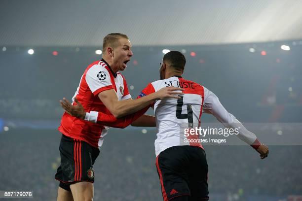 Jeremiah St Juste of Feyenoord celebrates 21 with Sven van Beek of Feyenoord during the UEFA Champions League match between Feyenoord v Napoli at the...