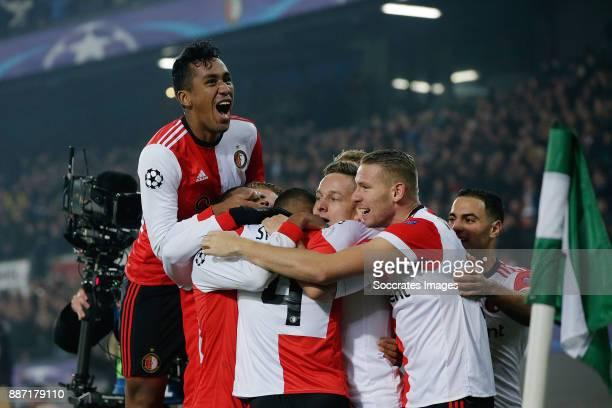 Jeremiah St Juste of Feyenoord celebrates 21 with Sven van Beek of Feyenoord Renato Tapia of Feyenoord Jens Toornstra of Feyenoord during the UEFA...