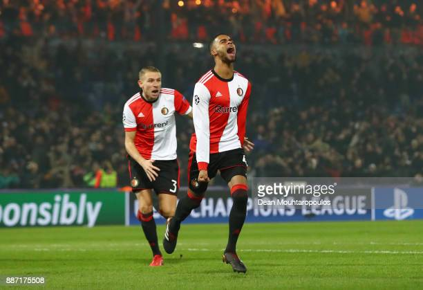 Jeremiah St Juste of Feyenoord celebrates after scoring his sides second goal during the UEFA Champions League group F match between Feyenoord and...