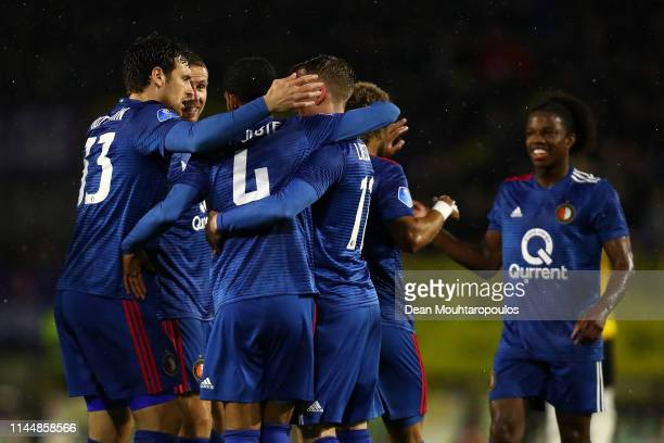 Jeremiah St Juste of Feyenoord celebrates with his team after scoring the opening goal during the Eredivisie match between NAC Breda and Feyenoord at...