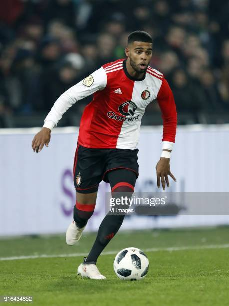 Jeremiah St Juste of Feyenoord during the Dutch Eredivisie match between Feyenoord Rotterdam and FC Groningen at the Kuip on February 08 2018 in...