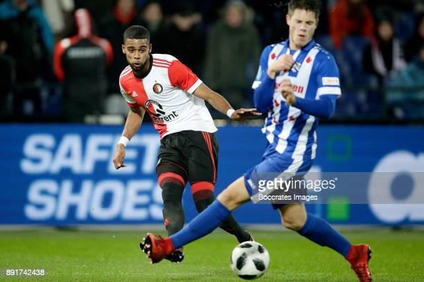 Jeremiah St Juste of Feyenoord Kik Pierie of SC Heerenveen during the Dutch Eredivisie match between Feyenoord v SC Heerenveen at the Stadium...